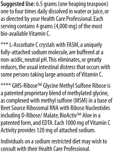 Vitality C Supplement Facts 2