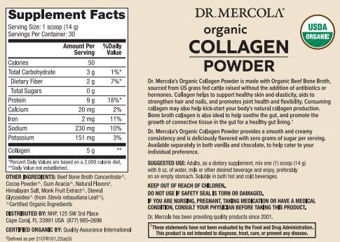 Dr Mercola Organic Collagen Powder Chocolate Supplement Facts
