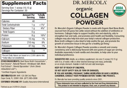 Dr Mercola Organic Collagen Powder Vanilla Supplement Facts