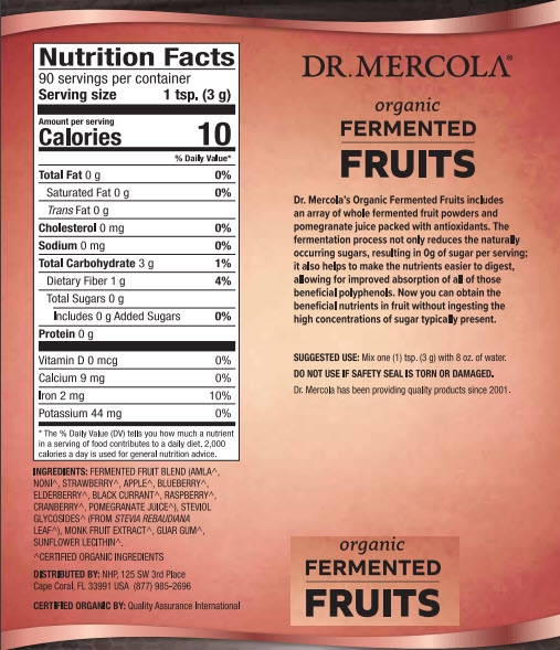 Dr Mercola Organic Fermented Fruit Powder Nutrition Facts
